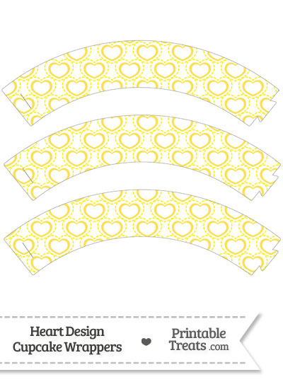 Yellow Heart Design Cupcake Wrappers from PrintableTreats.com