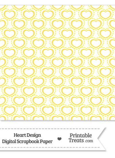 Yellow Heart Design Digital Scrapbook Paper from PrintableTreats.com