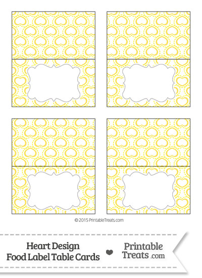 Yellow Heart Design Food Labels from PrintableTreats.com