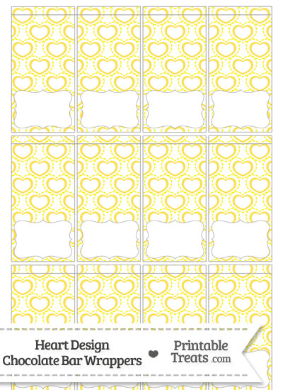 Yellow Heart Design Mini Chocolate Bar Wrappers from PrintableTreats.com