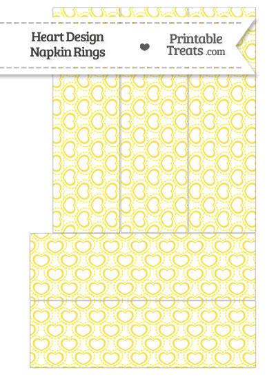 Yellow Heart Design Napkin Rings from PrintableTreats.com