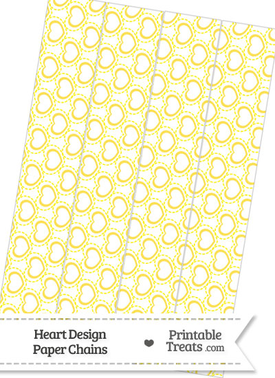 Yellow Heart Design Paper Chains from PrintableTreats.com