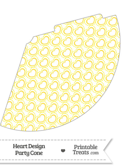 Yellow Heart Design Party Cone from PrintableTreats.com