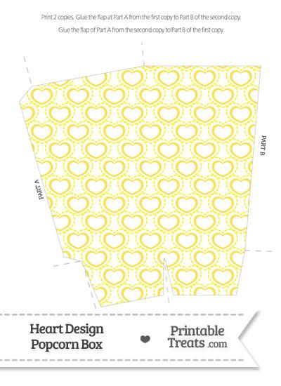 Yellow Heart Design Popcorn Box from PrintableTreats.com