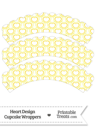 Yellow Heart Design Scalloped Cupcake Wrappers from PrintableTreats.com