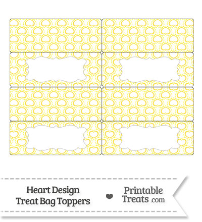 Yellow Heart Design Treat Bag Toppers from PrintableTreats.com
