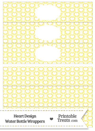 Yellow Heart Design Water Bottle Wrappers from PrintableTreats.com