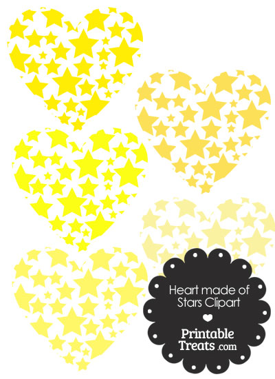 Yellow Heart Made of Stars Clipart from PrintableTreats.com