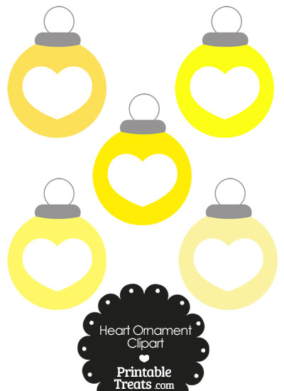 Yellow Heart Ornament Clipart from PrintableTreats.com