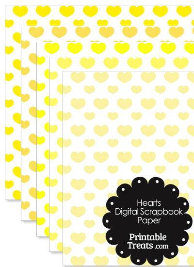 Yellow Hearts Digital Scrapbook Paper from PrintableTreats.com