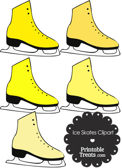 Yellow Ice Skates Clipart from PrintableTreats.com