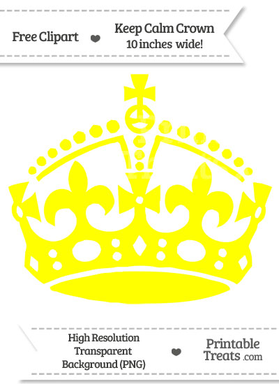 Yellow Keep Calm Crown Clipart from PrintableTreats.com