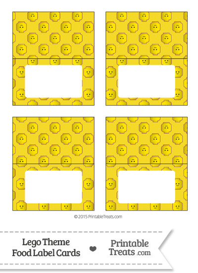 Yellow Lego Theme Food Label Buffet Cards from PrintableTreats.com