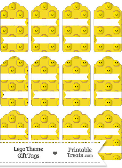 Yellow Lego Theme Gift Tags from PrintableTreats.com