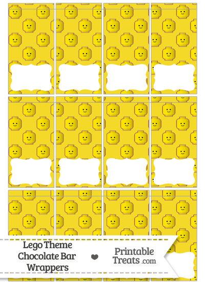 Yellow Lego Theme Mini Chocolate Bar Wrappers from PrintableTreats.com