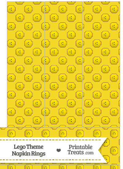 Yellow Lego Theme Napkin Rings from PrintableTreats.com