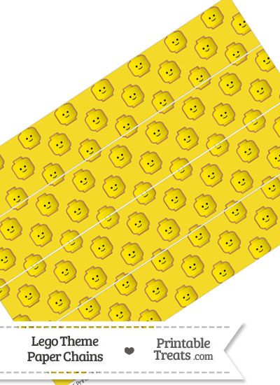 Yellow Lego Theme Paper Chains from PrintableTreats.com