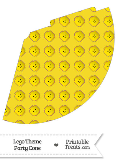 Yellow Lego Theme Party Cone from PrintableTreats.com