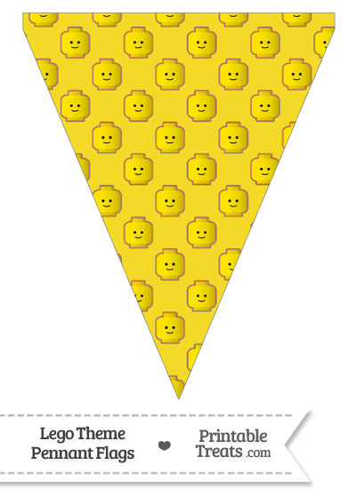 Yellow Lego Theme Pennant Banner Flag from PrintableTreats.com