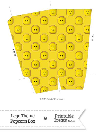 Yellow Lego Theme Popcorn Box from PrintableTreats.com