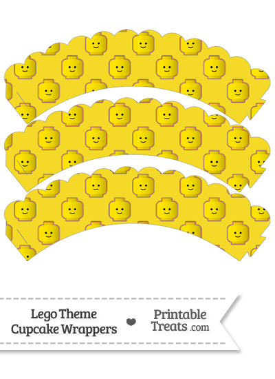 Yellow Lego Theme Scalloped Cupcake Wrappers from PrintableTreats.com