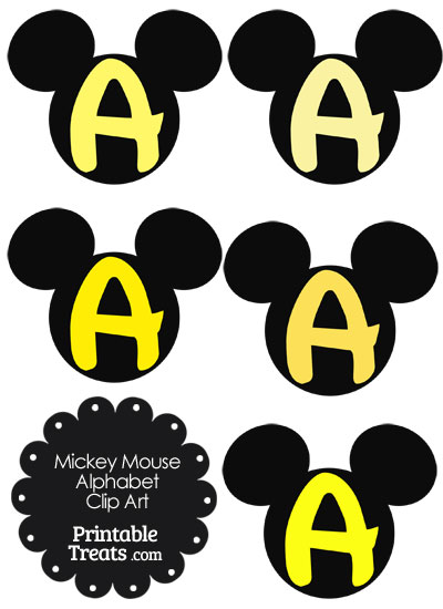 Yellow Mickey Mouse Head Letter A Clipart from PrintableTreats.com