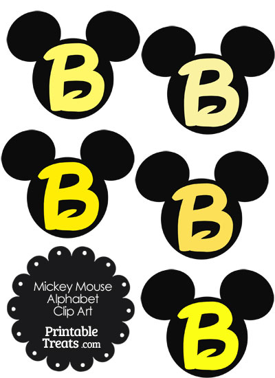 Yellow Mickey Mouse Head Letter B Clipart from PrintableTreats.com