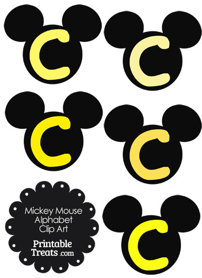 Yellow Mickey Mouse Head Letter C Clipart from PrintableTreats.com