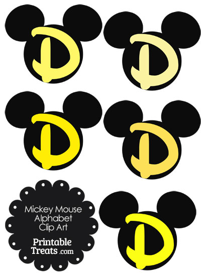 Yellow Mickey Mouse Head Letter D Clipart from PrintableTreats.com
