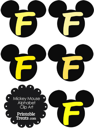 Yellow Mickey Mouse Head Letter F Clipart from PrintableTreats.com