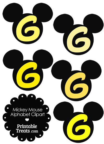 Yellow Mickey Mouse Head Letter G Clipart from PrintableTreats.com