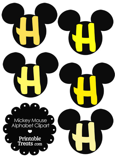 Yellow Mickey Mouse Head Letter H Clipart from PrintableTreats.com
