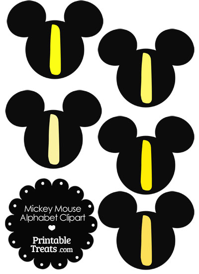 Yellow Mickey Mouse Head Letter I Clipart from PrintableTreats.com