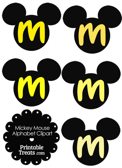 Yellow Mickey Mouse Head Letter M Clipart from PrintableTreats.com