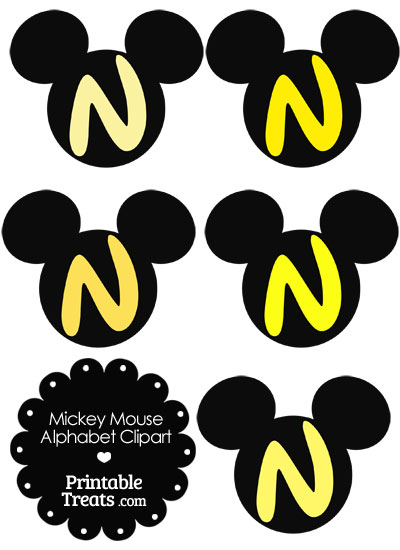 Yellow Mickey Mouse Head Letter N Clipart from PrintableTreats.com