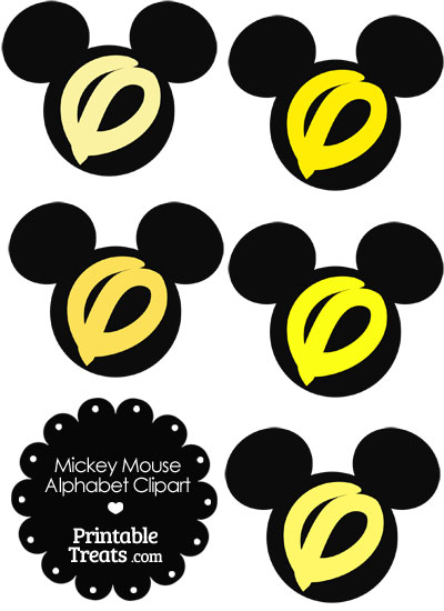 Yellow Mickey Mouse Head Letter O Clipart from PrintableTreats.com