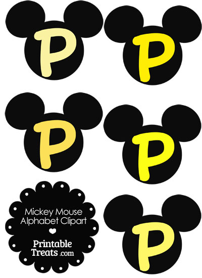 Yellow Mickey Mouse Head Letter P Clipart from PrintableTreats.com