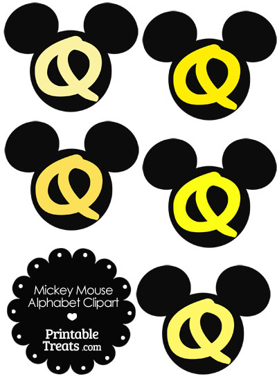 Yellow Mickey Mouse Head Letter Q Clipart from PrintableTreats.com