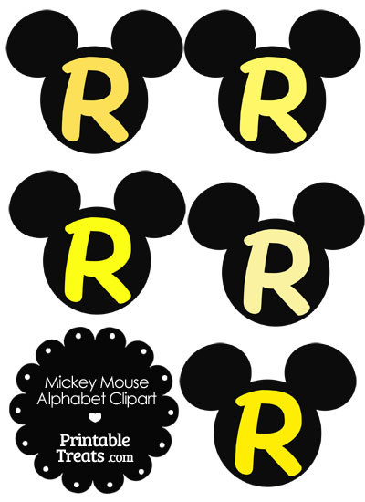 Yellow Mickey Mouse Head Letter R Clipart from PrintableTreats.com