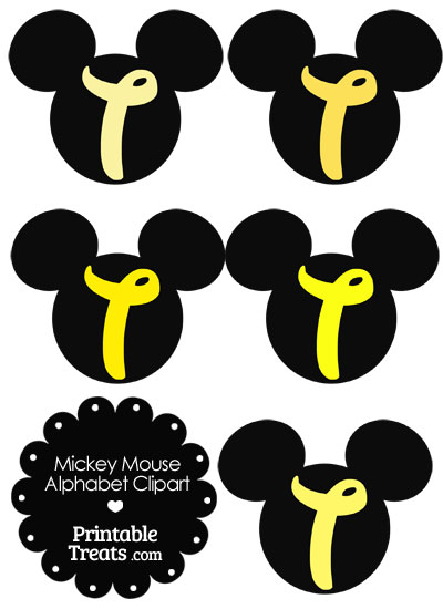 Yellow Mickey Mouse Head Letter T Clipart from PrintableTreats.com