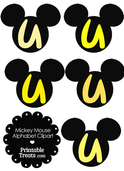 Yellow Mickey Mouse Head Letter U Clipart from PrintableTreats.com