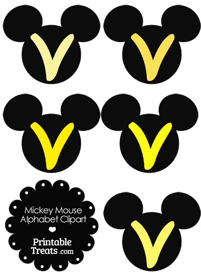 Yellow Mickey Mouse Head Letter V Clipart from PrintableTreats.com