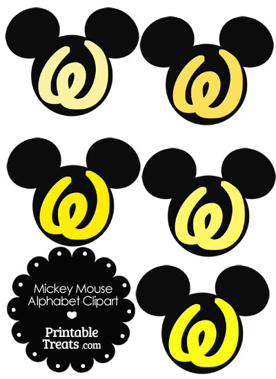 Yellow Mickey Mouse Head Letter W Clipart from PrintableTreats.com