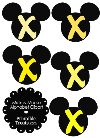 Yellow Mickey Mouse Head Letter X Clipart from PrintableTreats.com