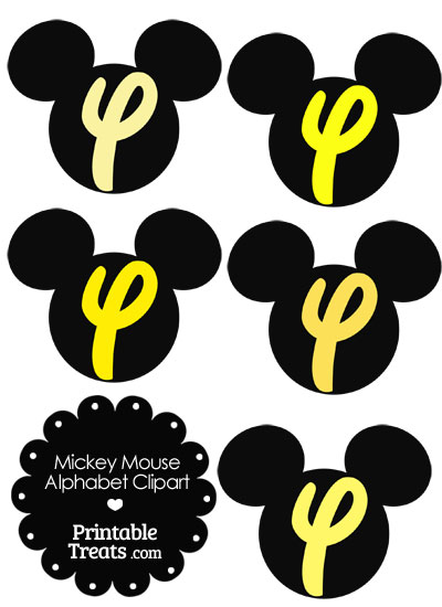 Yellow Mickey Mouse Head Letter Y Clipart from PrintableTreats.com