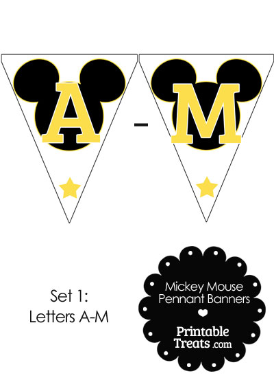 Yellow Mickey Mouse Pennant Banner Letters A-M from PrintableTreats.com