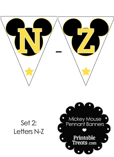 Yellow Mickey Mouse Pennant Banner Letters N-Z from PrintableTreats.com