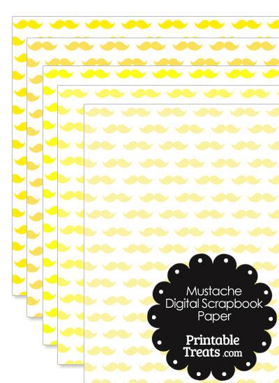 Yellow Mustache Digital Scrapbook Paper from PrintableTreats.com