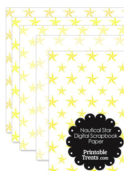 Yellow Nautical Star Digital Scrapbook Paper from PrintableTreats.com