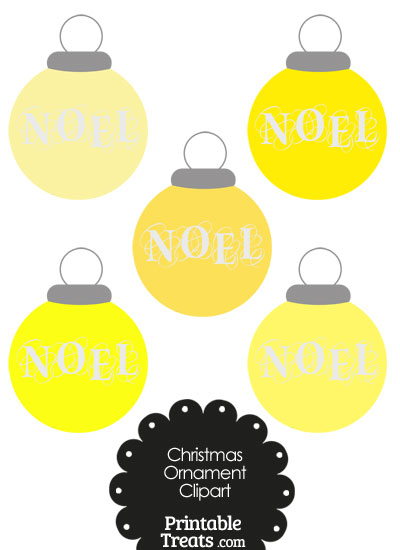 Yellow Noel Christmas Ornament Clipart from PrintableTreats.com